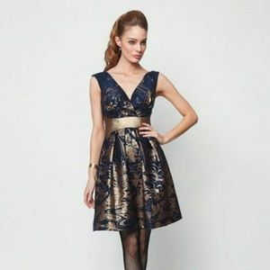 Anthropologie Eva Franco - wool navy/gold dress